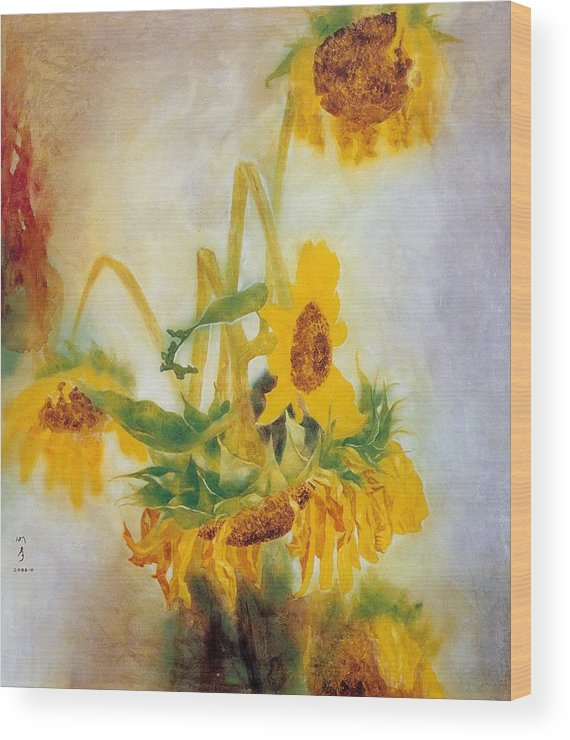 Flower Painting Wood Print featuring the painting Sun Flowers No.2 by Minxiao Liu