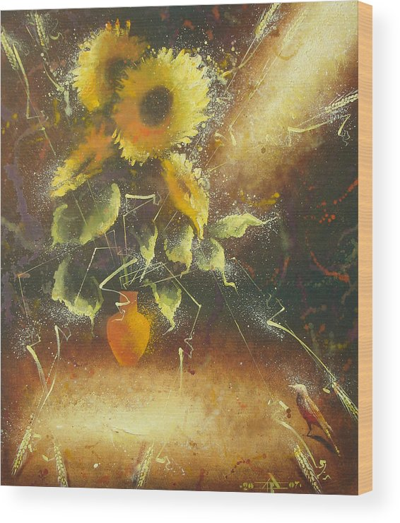 Still Life Wood Print featuring the painting Sunflowers by Andrej Vystropov