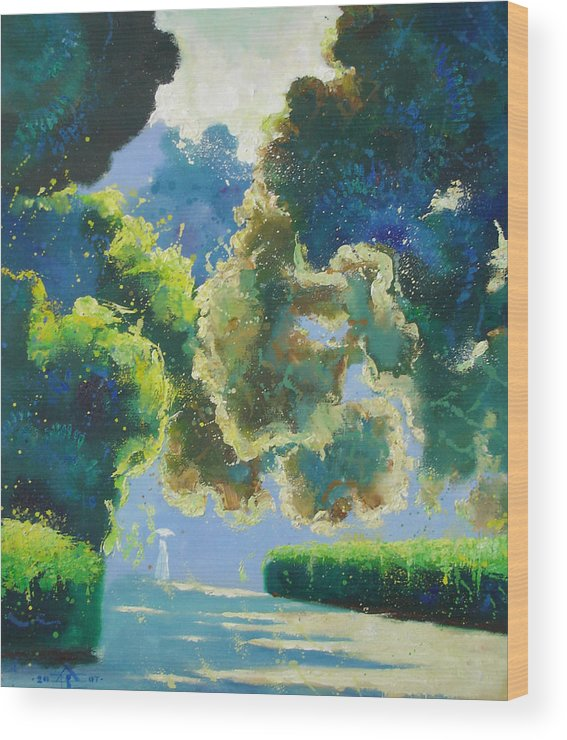 Landscape Wood Print featuring the painting Sunny Noon by Andrej Vystropov