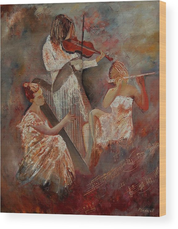 Music Wood Print featuring the painting Three Musicians by Pol Ledent