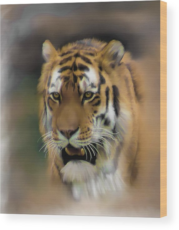 Tiger Wood Print featuring the mixed media Tiger by Rosalie Perryman