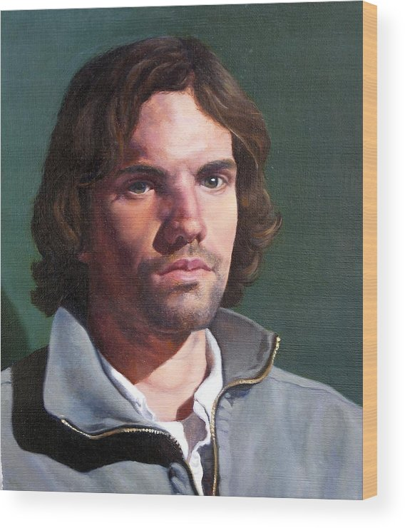 Portrait Wood Print featuring the painting Toby by Deborah Allison