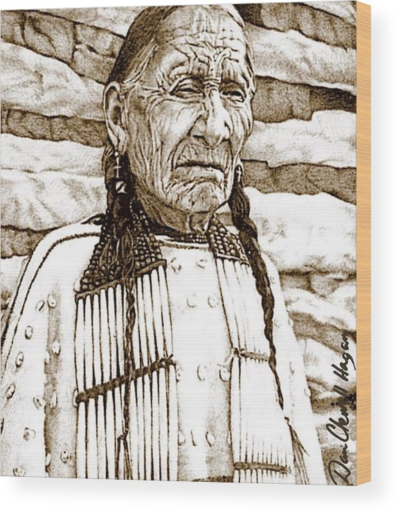 American Indian Wood Print featuring the drawing Unyoungindian by Dan Clewell