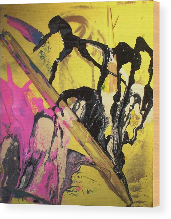Abstract Wood Print featuring the painting Written History Began When Monkeys Invented A Giagantic Pencil by Bruce Combs - REACH BEYOND