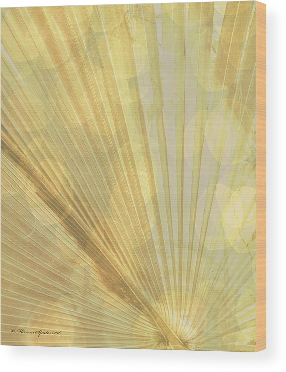 Green Wood Print featuring the photograph Yellow Palm Frond Lh by Marvin Spates