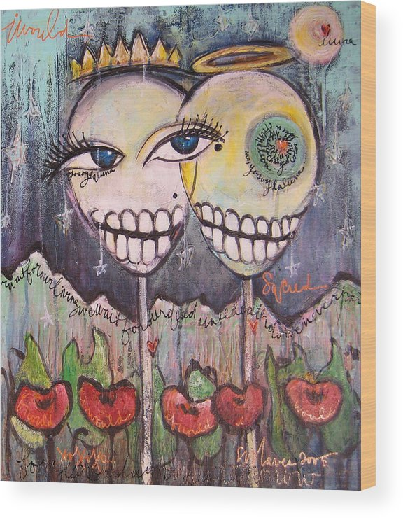 Skull Heads Wood Print featuring the painting Yo Soy La Luna by Laurie Maves ART