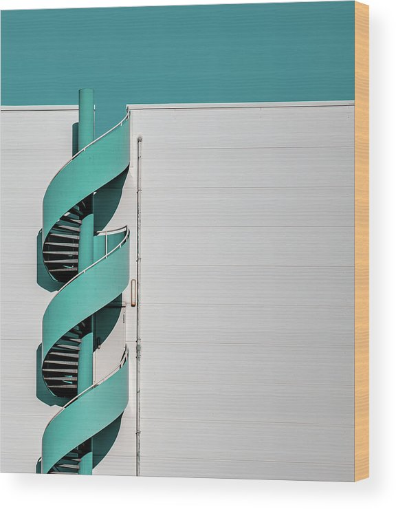 Staircase Wood Print featuring the photograph ... Spiral by Joerg Vollrath