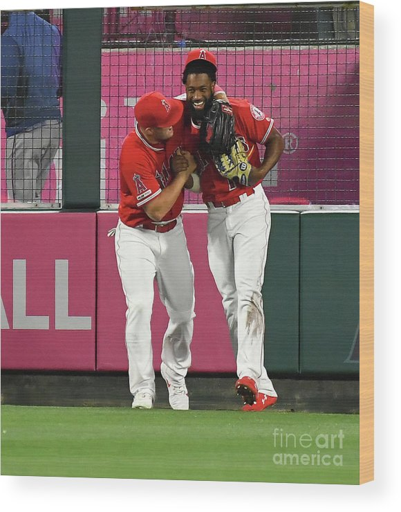 People Wood Print featuring the photograph Texas Rangers V Los Angeles Angels Of 1 by Jayne Kamin-oncea