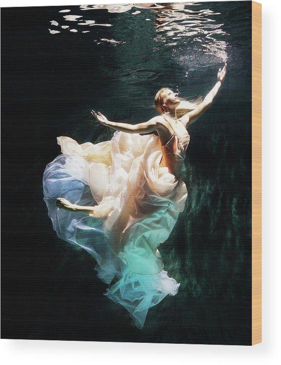 Ballet Dancer Wood Print featuring the photograph Female Dancer Performing Under Water by Henrik Sorensen