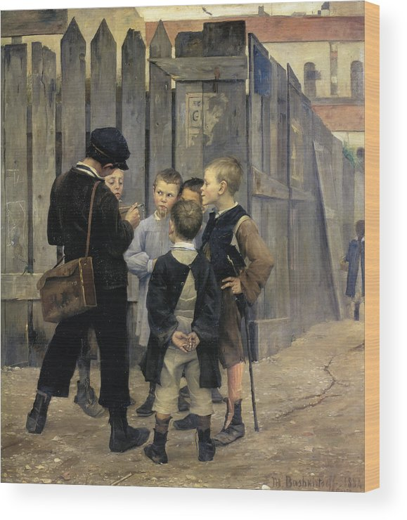 Orphanage Boys Wood Print featuring the painting The Meeting by Marie Bashkirtseff