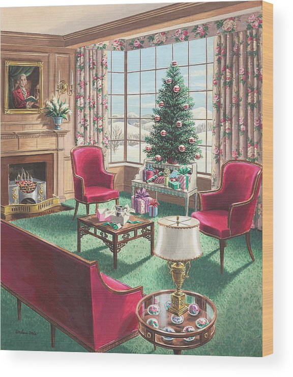 Wood Print featuring the painting Illustration Of A Christmas Living Room Scene by Urban Weis