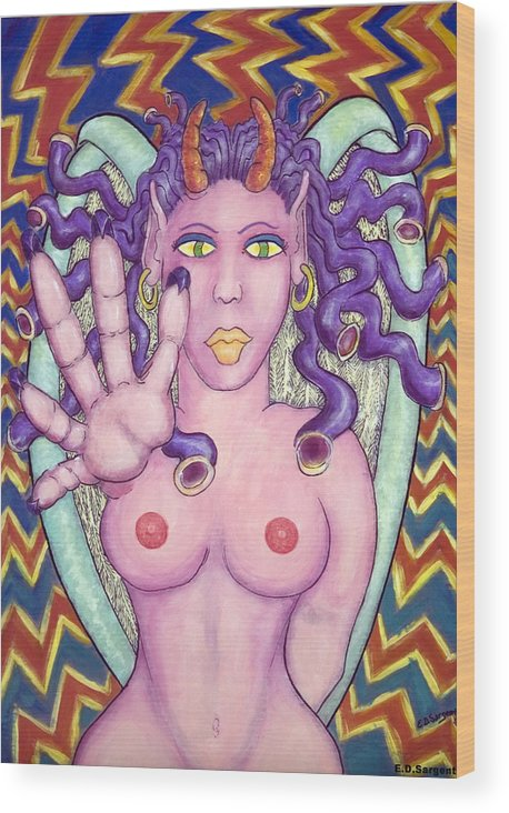 Devilish Wood Print featuring the painting Touch You by Eddie Sargent
