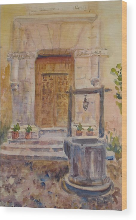 Doorway Wood Print featuring the painting Chris Coloh House Well by Joyce Kanyuk