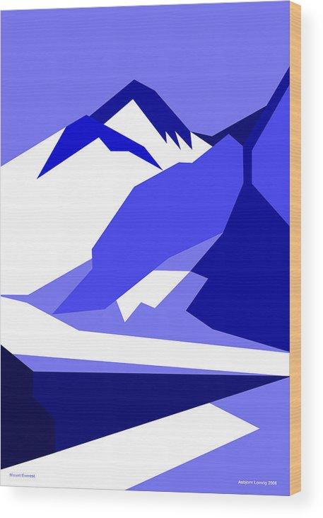 Everest Wood Print featuring the digital art Everest Blue by Asbjorn Lonvig