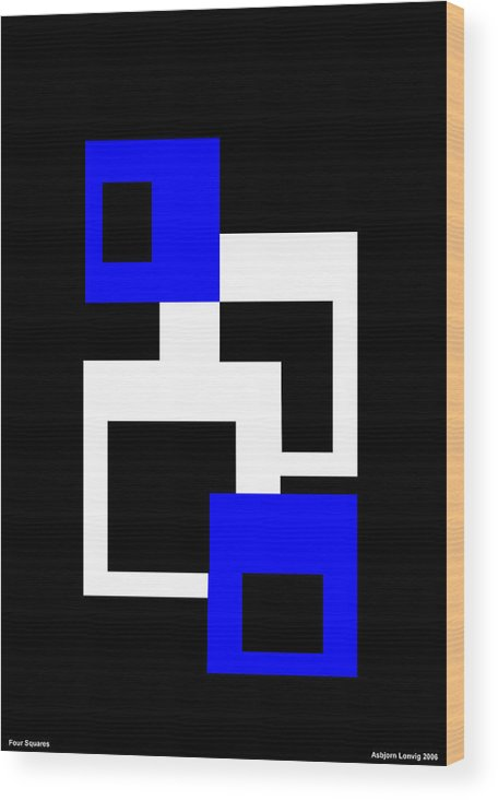 Four Squares Wood Print featuring the digital art Four Squares by Asbjorn Lonvig