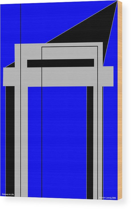 Gateway To Life Wood Print featuring the digital art Gateway To Life - Blue by Asbjorn Lonvig