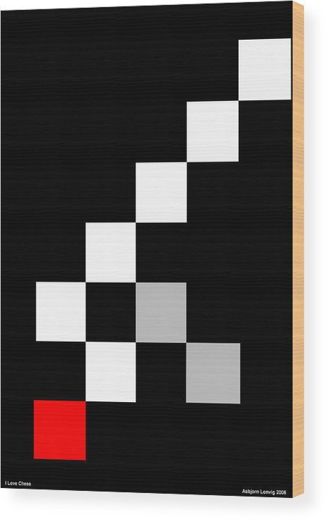 Chess Wood Print featuring the digital art I Love Chess by Asbjorn Lonvig