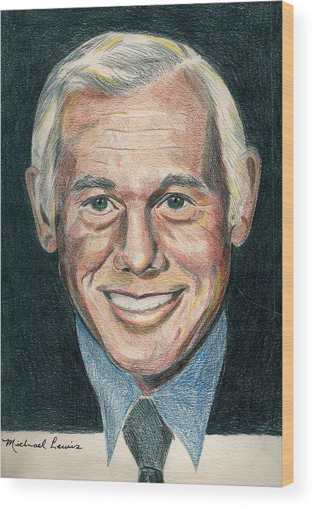 Portraiture Wood Print featuring the drawing Johnny Carson by Michael Lewis