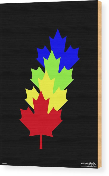Maple Leaves Wood Print featuring the painting Maple Leaves by Asbjorn Lonvig