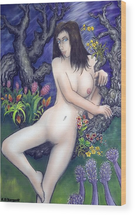 Nude Wood Print featuring the painting Pale Flale by Eddie Sargent
