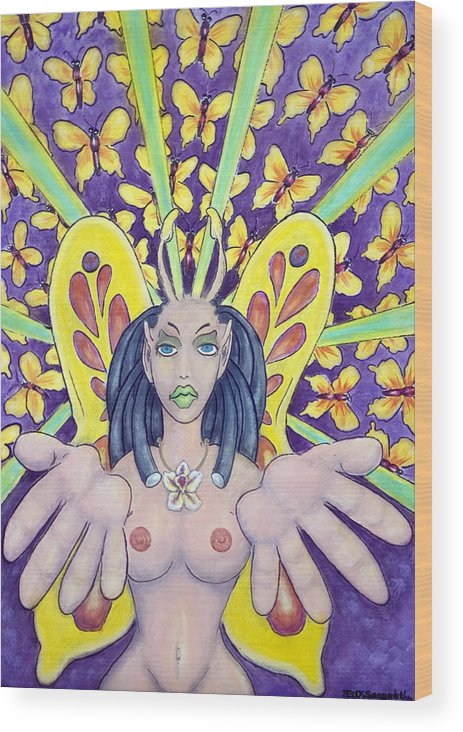Nude Wood Print featuring the painting Radiant Butterflies by Eddie Sargent