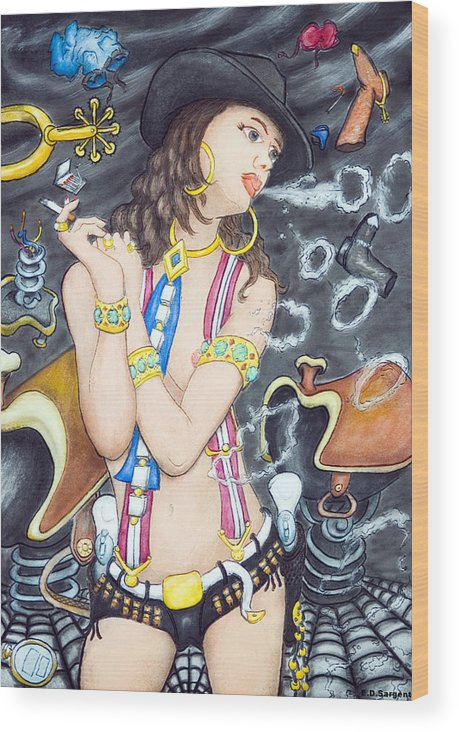 Cowgirl Wood Print featuring the painting smoke N O's by Eddie Sargent