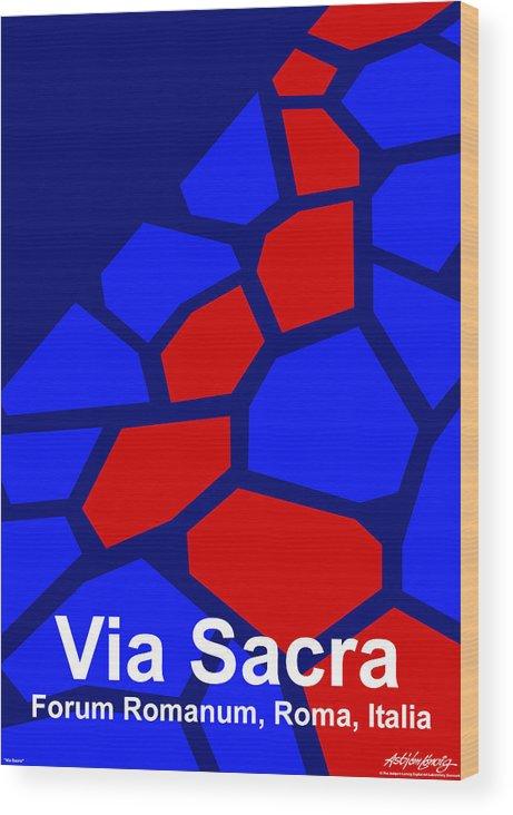 Via Sacra Wood Print featuring the digital art Via Sacra - Text by Asbjorn lonvig