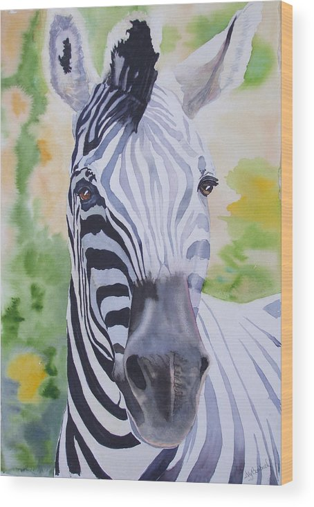 Zebra Wood Print featuring the painting Zebra Crossing by Ally Benbrook