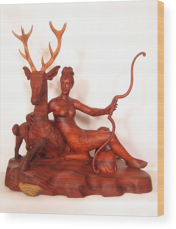 The Huntress Wood Print featuring the sculpture Diana And The Stag by Thu Nguyen