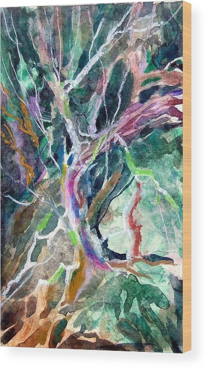 Tree Wood Print featuring the painting A Dying Tree by Mindy Newman