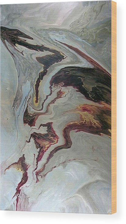Abstract Wood Print featuring the painting Awakening by Patrick Mock