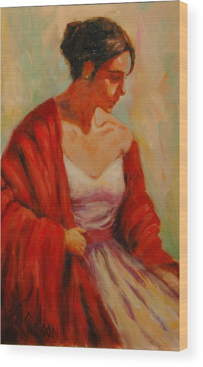 Woman Wood Print featuring the painting Elegant Lady by Billie Colson