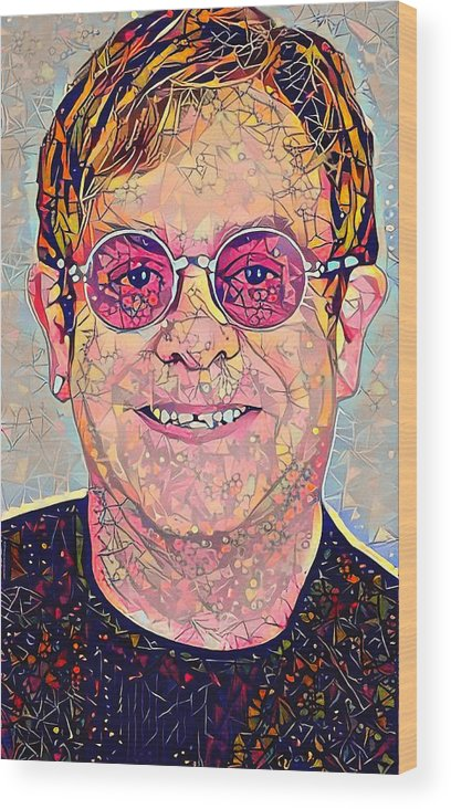 Elton Wood Print featuring the digital art Elton John Triangles Portrait by Yury Malkov