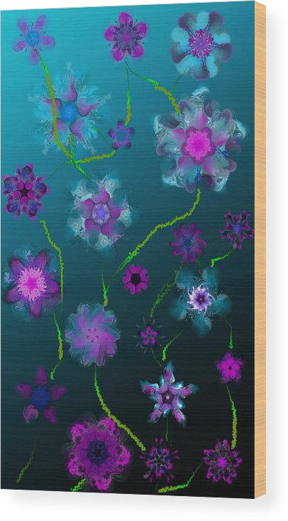 Floral Wood Print featuring the digital art Floral Fun 1 by David Lane