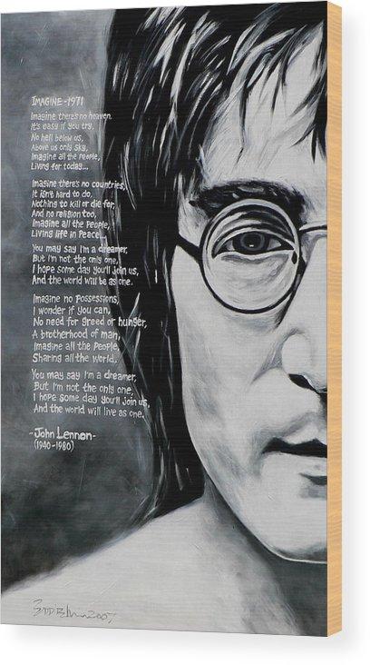 John Lennon Imagine Wood Print By Eddie Lim
