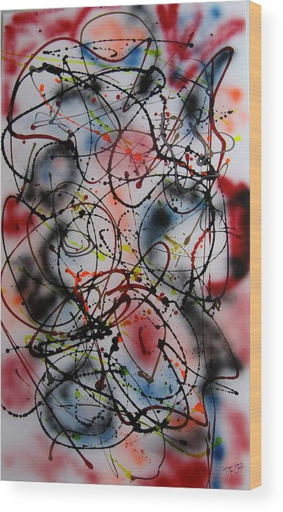 Abstract Wood Print featuring the painting Max by Paul Freidin
