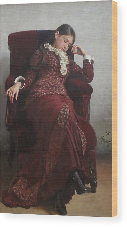 Ilya Repin Wood Print featuring the painting Rest. Portrait of Vera Repina, the Artist's Wife. by Ilya Repin