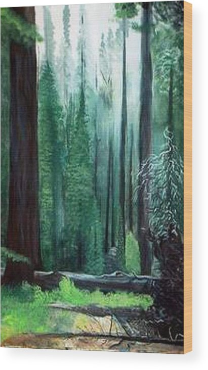 Landscape Wood Print featuring the painting Tall Trees by Julie Lamons