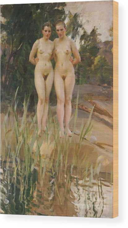 Nude Wood Print featuring the painting Two Friends by Anders Leonard Zorn