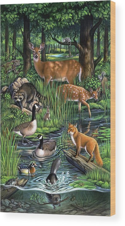 Animals Wood Print featuring the painting Woodland by Jerry LoFaro