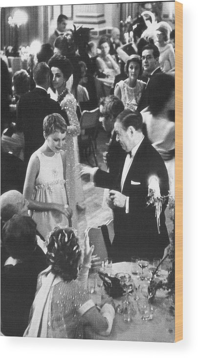 Recreational Pursuit Wood Print featuring the photograph Farrow & Sorenson At Black & White Ball by Fred W. McDarrah