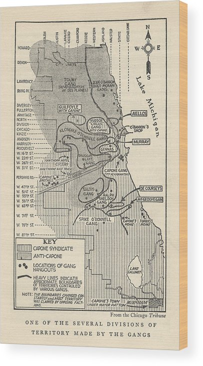 Gangster Wood Print featuring the photograph Map Showing Divisions Of Gang by Chicago History Museum