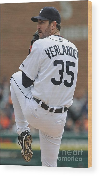 American League Baseball Wood Print featuring the photograph Justin Verlander by Mark Cunningham