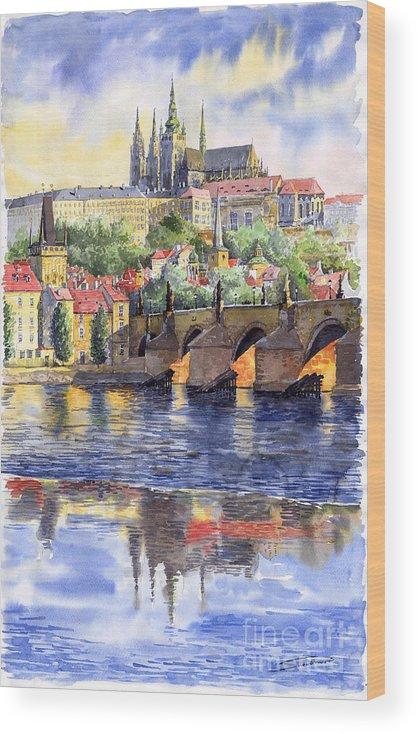 Watercolour Watercolor Prague Praha Cityscape Castle Old City Hous Bridge Wood Print featuring the painting Prague Castle with the Vltava River 1 by Yuriy Shevchuk