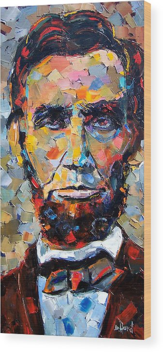 President Wood Print featuring the painting Abraham Lincoln portrait by Debra Hurd