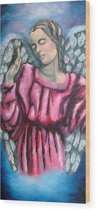 Angel Wood Print featuring the painting Angel of Hope by Elizabeth Lisy Figueroa
