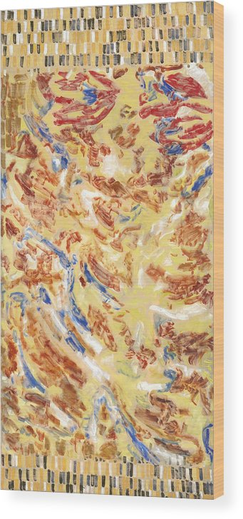 Abstract Carpet Yellow Red Pattern Blue Ochre Exotic Wood Print featuring the painting Flying Carpet by Joan De Bot