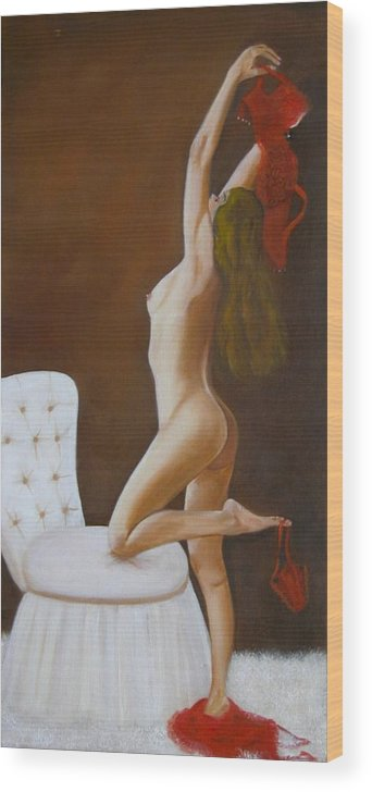 Nude Wood Print featuring the painting Freedom by Joni McPherson