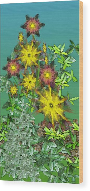 Flowers Wood Print featuring the digital art Mixed Flowers by David Lane