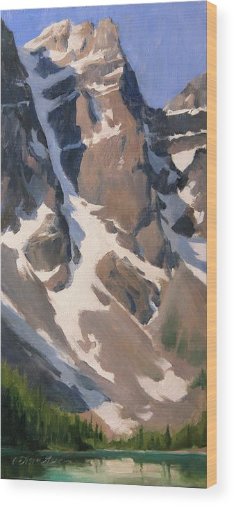 Moraine Lake Wood Print featuring the painting Mount Tonsa, Moraine Lake by Anna Bain